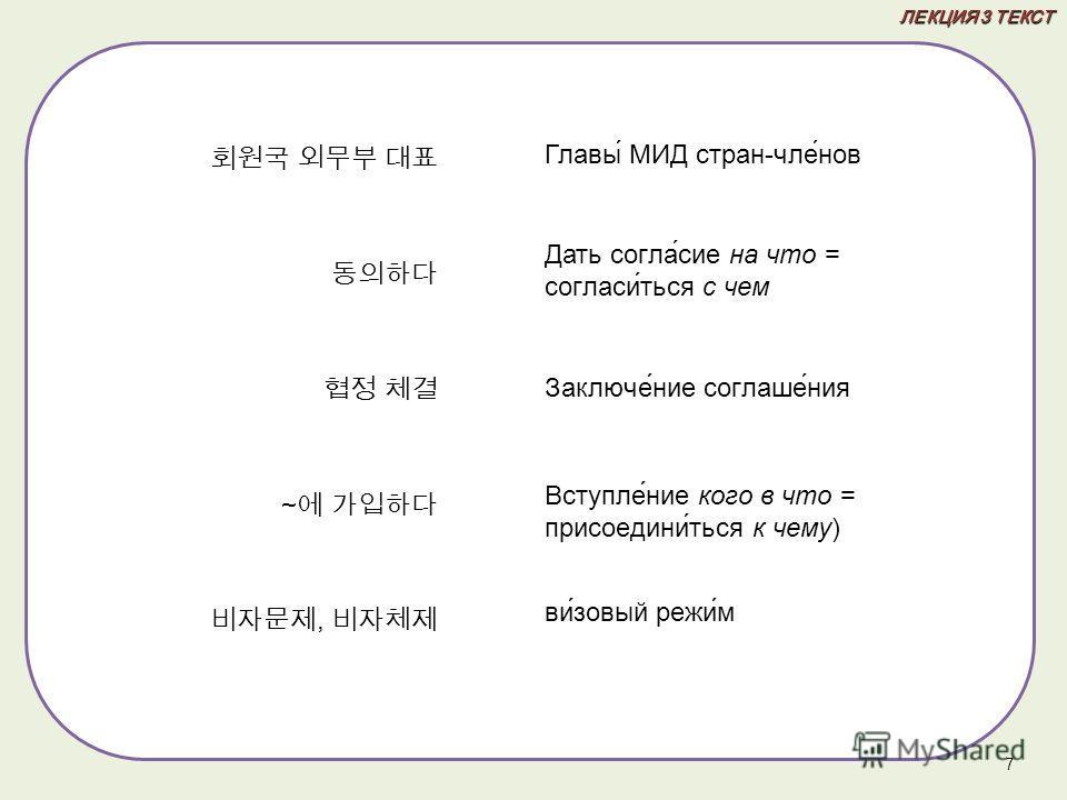 ЛЕКЦИЯ 3 ТЕКСТ ~, 7 Главы МИД стран-чле́нов Дать согла́сие на что = согласи́ться с чем Заключе́ние соглаше́ния Вступле́ние кого в что = присоедини́ться к чему) ви́зовый режи́м