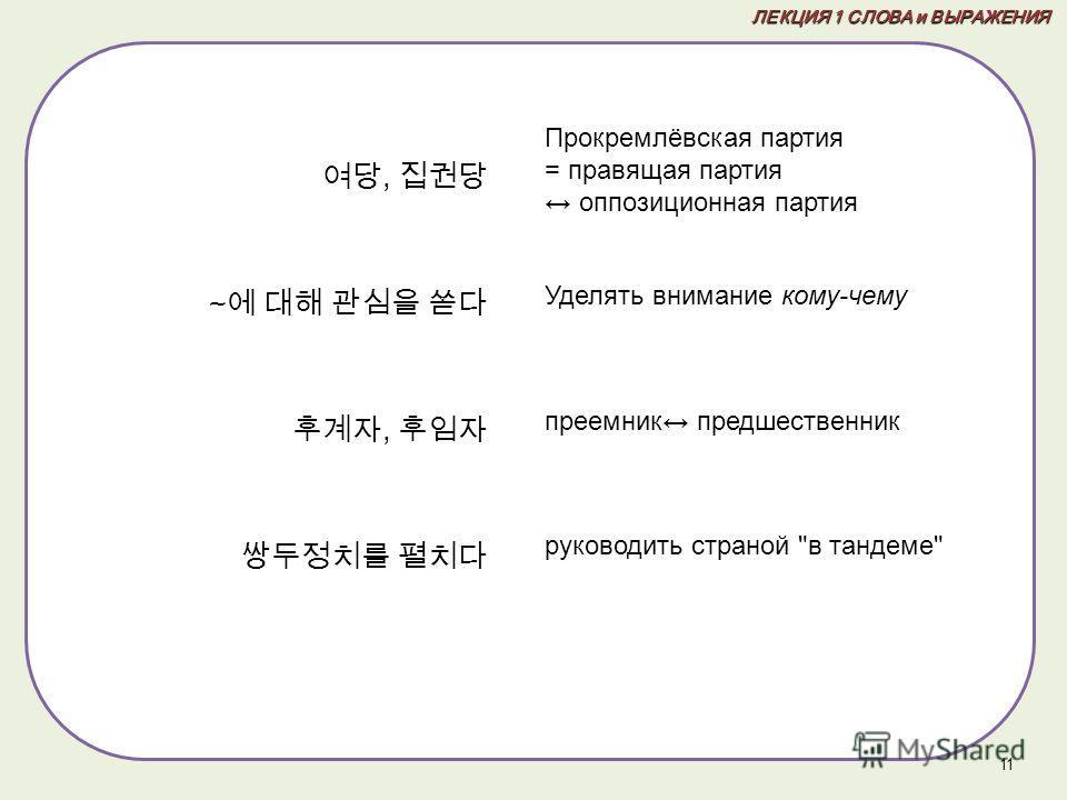 , ~, 11 ЛЕКЦИЯ 1 СЛОВА и ВЫРАЖЕНИЯ Прокремлёвская партия = правящая партия оппозиционная партия Уделять внимание кому-чему преемник предшественник руководить страной в тандеме