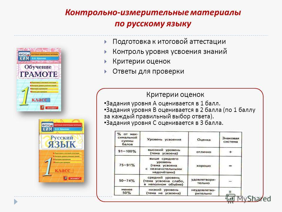 Подготовка к итоговой аттестации Контроль уровня усвоения знаний Критерии оценок Ответы для проверки Критерии оценок Контрольно-измерительные материалы по русскому языку Задания уровня А оценивается в 1 балл. Задания уровня В оценивается в 2 балла (п