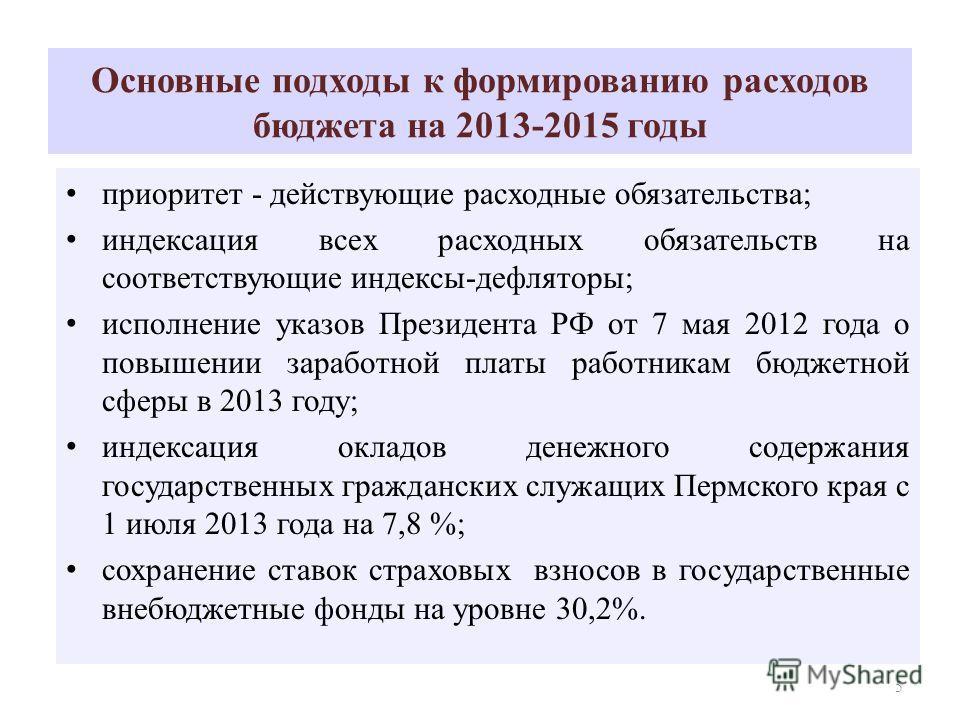 Основные подходы к формированию расходов бюджета на 2013-2015 годы приоритет - действующие расходные обязательства; индексация всех расходных обязательств на соответствующие индексы-дефляторы; исполнение указов Президента РФ от 7 мая 2012 года о повы
