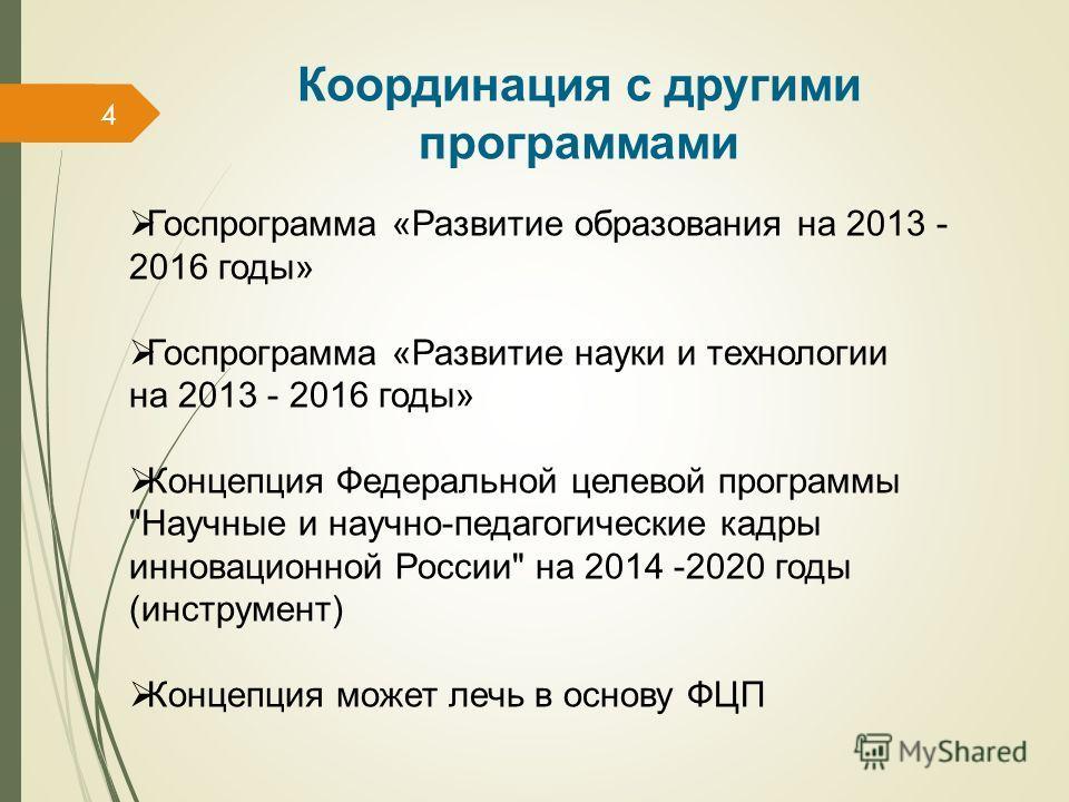 4 Координация с другими программами Госпрограмма «Развитие образования на 2013 - 2016 годы» Госпрограмма «Развитие науки и технологии на 2013 - 2016 годы» Концепция Федеральной целевой программы