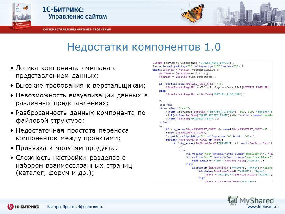 Недостатки компонентов 1.0 Логика компонента смешана с представлением данных; Высокие требования к верстальщикам; Невозможность визуализации данных в различных представлениях; Разбросанность данных компонента по файловой структуре; Недостаточная прос