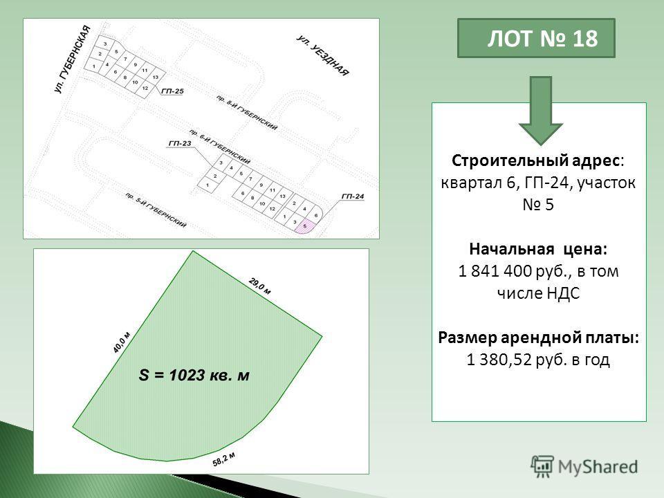 ЛОТ 18 Строительный адрес: квартал 6, ГП-24, участок 5 Начальная цена: 1 841 400 руб., в том числе НДС Размер арендной платы: 1 380,52 руб. в год