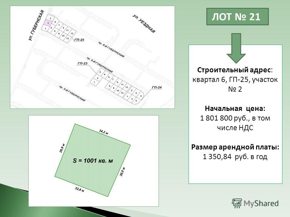ЛОТ 21 Строительный адрес: квартал 6, ГП-25, участок 2 Начальная цена: 1 801 800 руб., в том числе НДС Размер арендной платы: 1 350,84 руб. в год