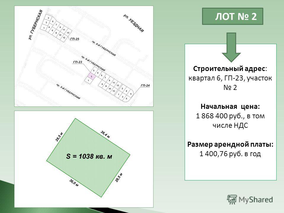 ЛОТ 2 Строительный адрес: квартал 6, ГП-23, участок 2 Начальная цена: 1 868 400 руб., в том числе НДС Размер арендной платы: 1 400,76 руб. в год