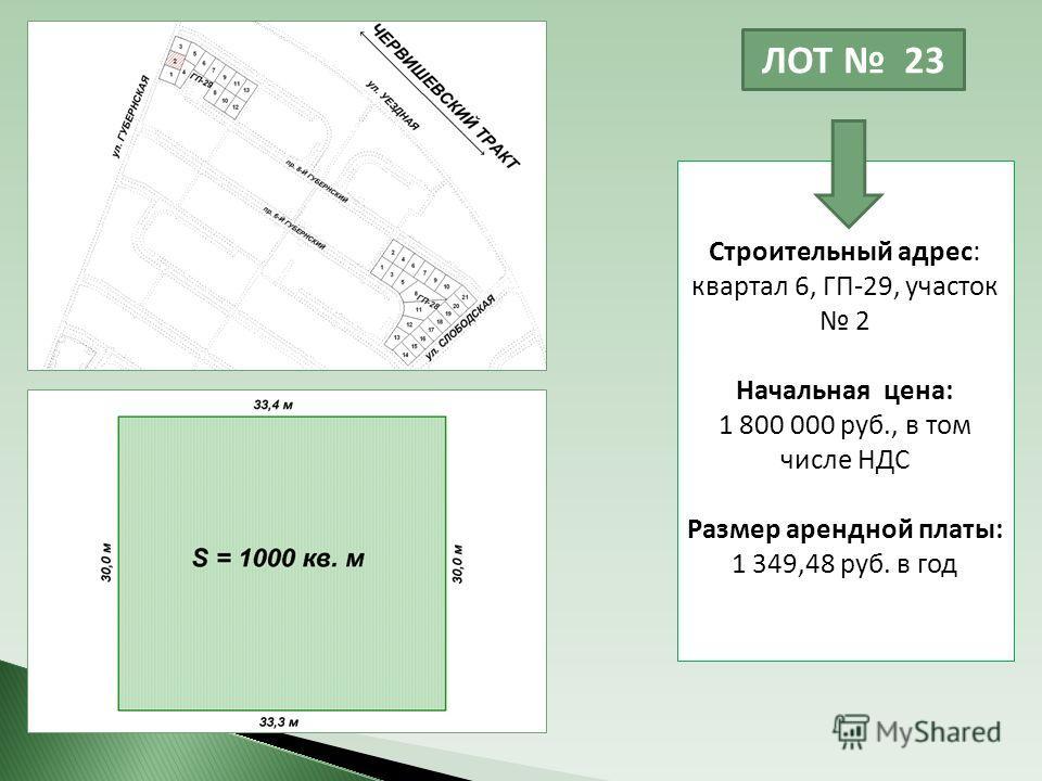 ЛОТ 23 Строительный адрес: квартал 6, ГП-29, участок 2 Начальная цена: 1 800 000 руб., в том числе НДС Размер арендной платы: 1 349,48 руб. в год