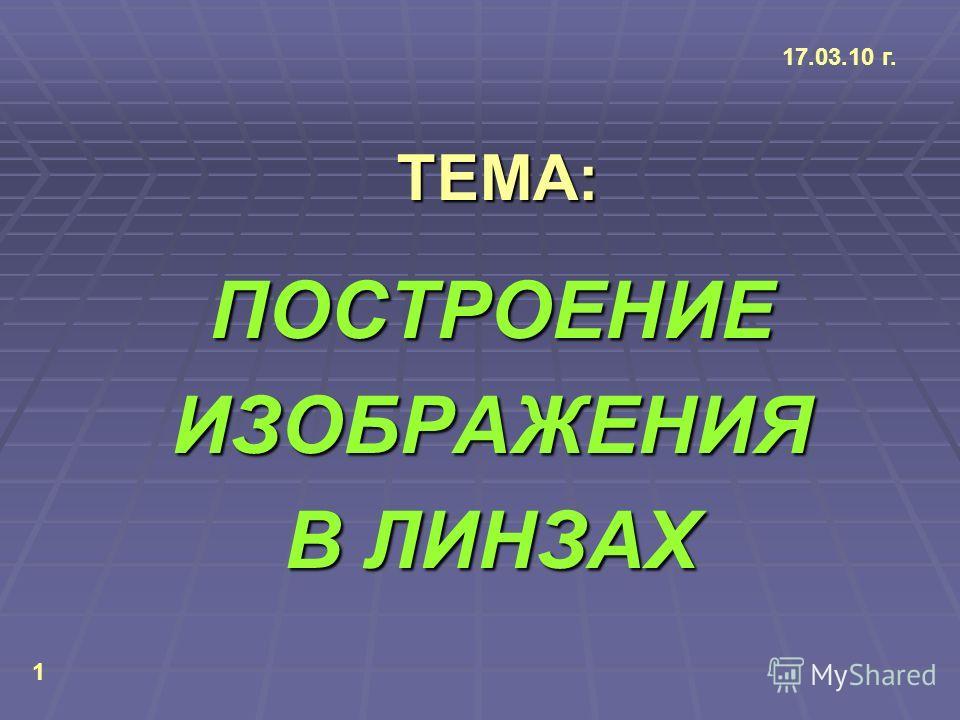 ТЕМА: ТЕМА: ПОСТРОЕНИЕИЗОБРАЖЕНИЯ В ЛИНЗАХ 17.03.10 г. 1