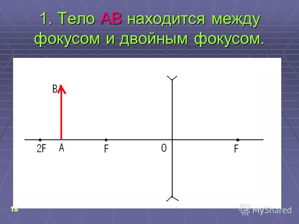 1. Тело АВ находится между фокусом и двойным фокусом. 18