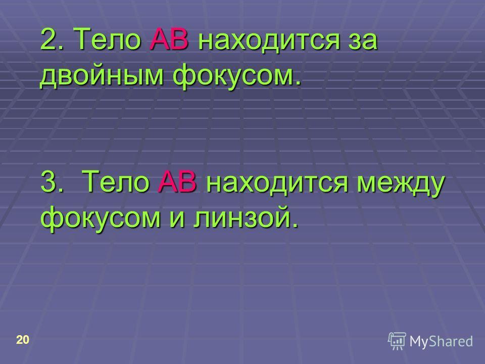 2. Тело АВ находится за двойным фокусом. 3. Тело АВ находится между фокусом и линзой. 20