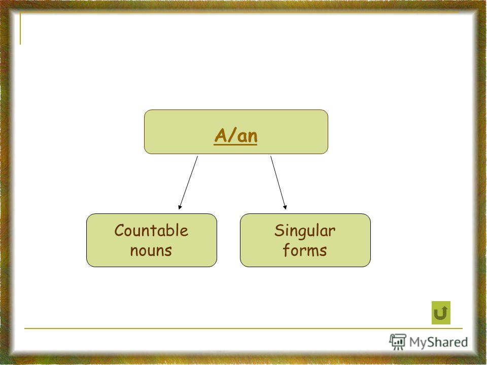 A/an Countable nouns Singular forms