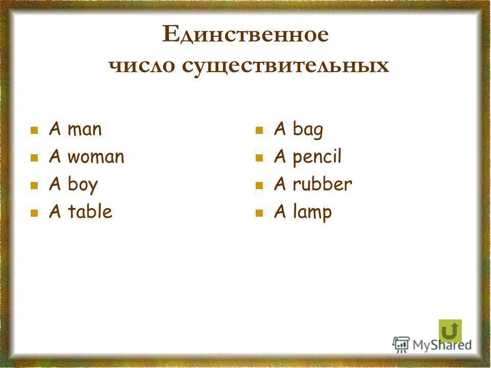 Единственное число существительных A man A woman A boy A table A bag A pencil A rubber A lamp