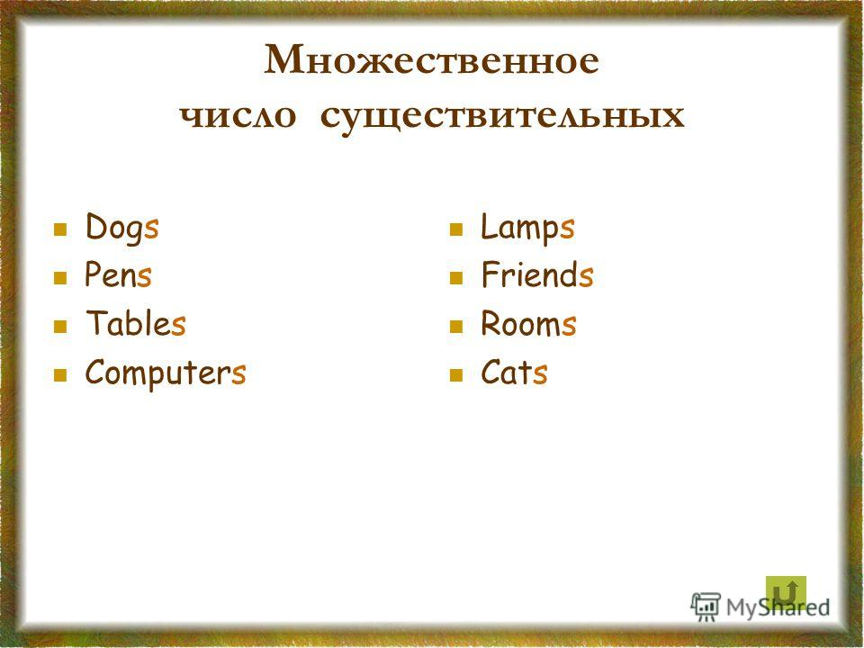 Множественное число существительных Dogs Pens Tables Computers Lamps Friends Rooms Cats