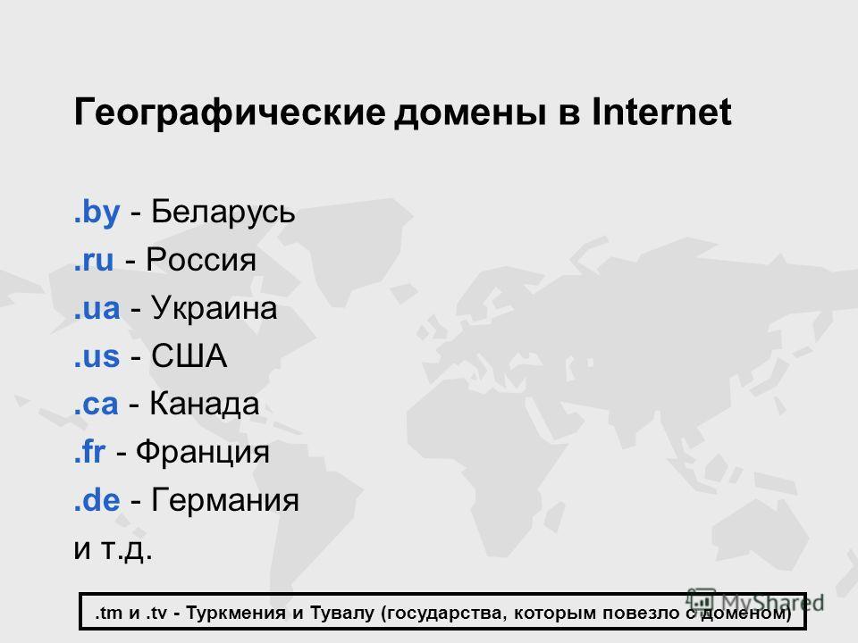 Географические домены в Internet.by - Беларусь.ru - Россия.ua - Украина.us - США.ca - Канада.fr - Франция.de - Германия и т.д..tm и.tv - Туркмения и Тувалу (государства, которым повезло с доменом)