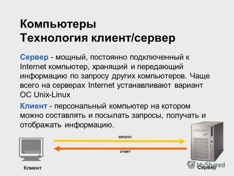 Компьютеры Технология клиент/сервер Сервер - мощный, постоянно подключенный к Internet компьютер, хранящий и передающий информацию по запросу других компьютеров. Чаще всего на серверах Internet устанавливают вариант ОС Unix-Linux Клиент - персональны