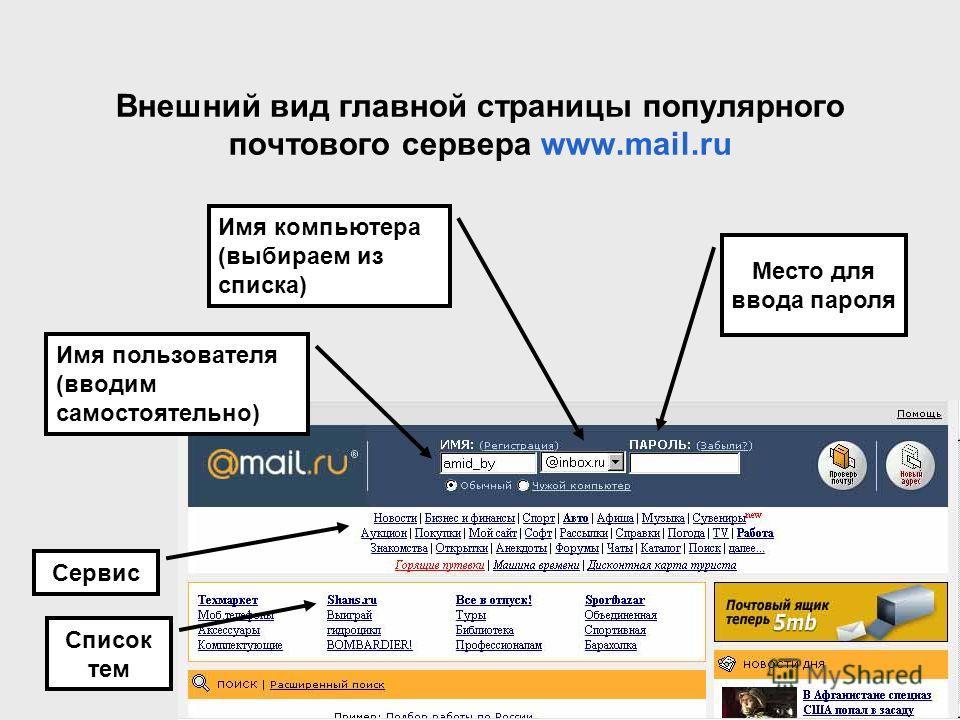 Внешний вид главной страницы популярного почтового сервера www.mail.ru Имя пользователя (вводим самостоятельно) Имя компьютера (выбираем из списка) Место для ввода пароля Список тем Сервис