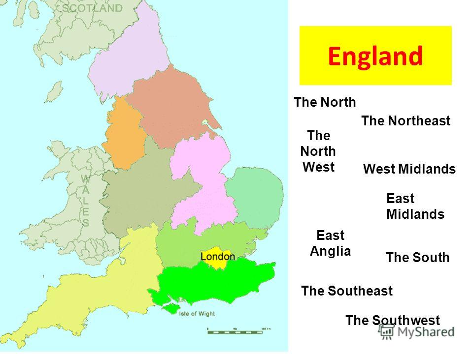 The North The Northeast The North West West Midlands East Anglia The South The Southeast The Southwest East Midlands England