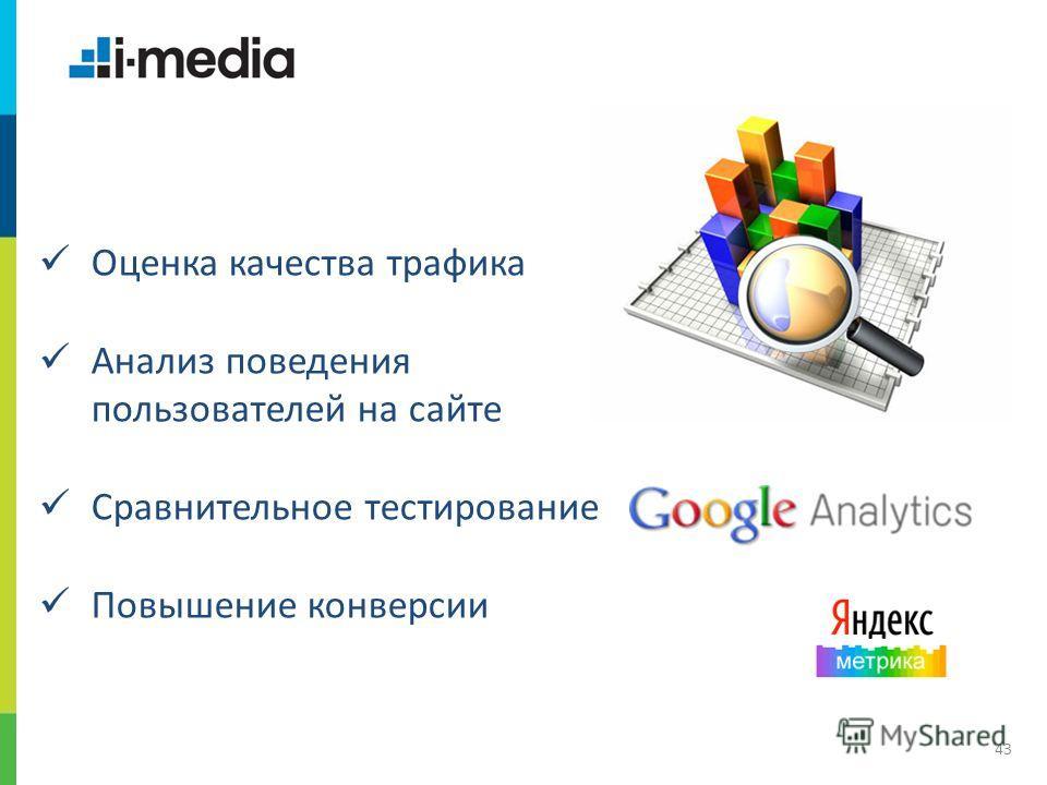 / Заголовок слайда 43 Оценка качества трафика Анализ поведения пользователей на сайте Сравнительное тестирование Повышение конверсии