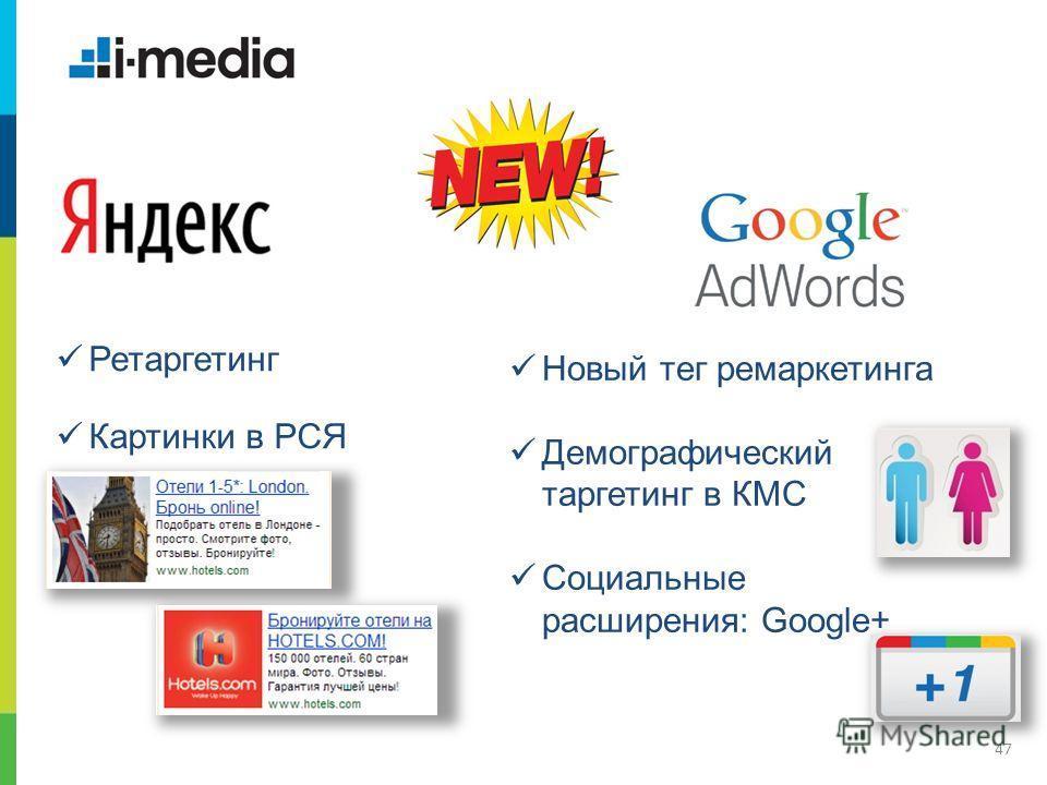 / Заголовок слайда 47 Новый тег ремаркетинга Демографический таргетинг в КМС Cоциальные расширения: Google+ Ретаргетинг Картинки в РСЯ