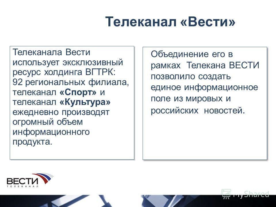 Телеканал «Вести» Объединение его в рамках Телекана ВЕСТИ позволило создать единое информационное поле из мировых и российских новостей. Телеканала Вести использует эксклюзивный ресурс холдинга ВГТРК: 92 региональных филиала, телеканал «Спорт» и теле