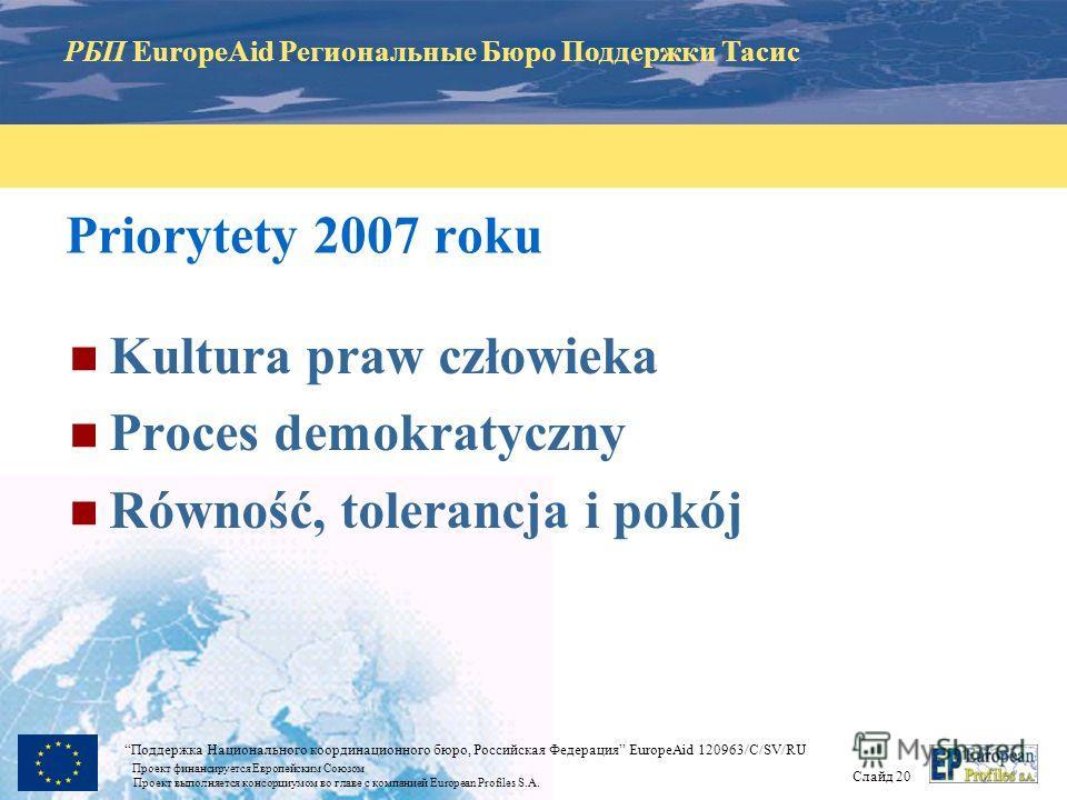 РБП EuropeAid Региональные Бюро Поддержки Тасис Слайд 19 Поддержка Национального координационного бюро, Российская Федерация EuropeAid 120963/C/SV/RU Проект финансируется Европейским Союзом Проект выполняется консорциумом во главе с компанией Europea