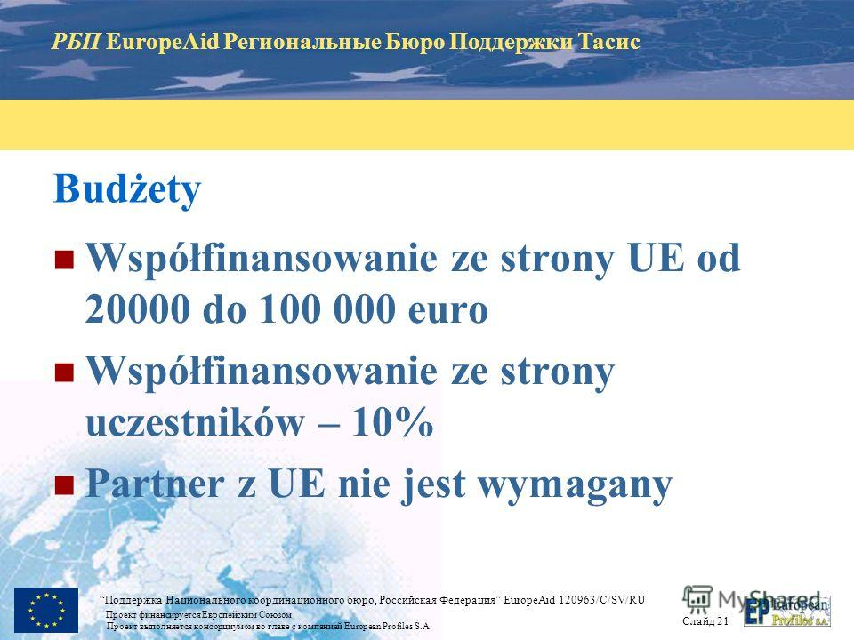 РБП EuropeAid Региональные Бюро Поддержки Тасис Слайд 20 Поддержка Национального координационного бюро, Российская Федерация EuropeAid 120963/C/SV/RU Проект финансируется Европейским Союзом Проект выполняется консорциумом во главе с компанией Europea