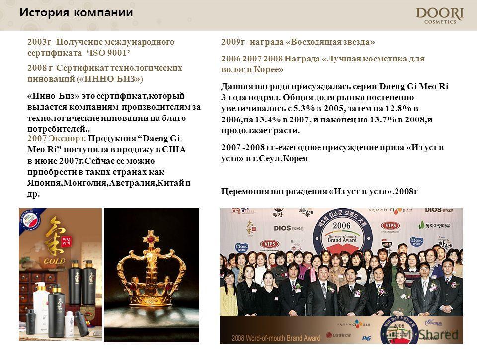 2009г- награда «Восходящая звезда» 2006 2007 2008 Награда «Лучшая косметика для волос в Корее» Данная награда присуждалась серии Daeng Gi Meo Ri 3 года подряд. Общая доля рынка постепенно увеличивалась с 5.3% в 2005, затем на 12.8% в 2006,на 13.4% в