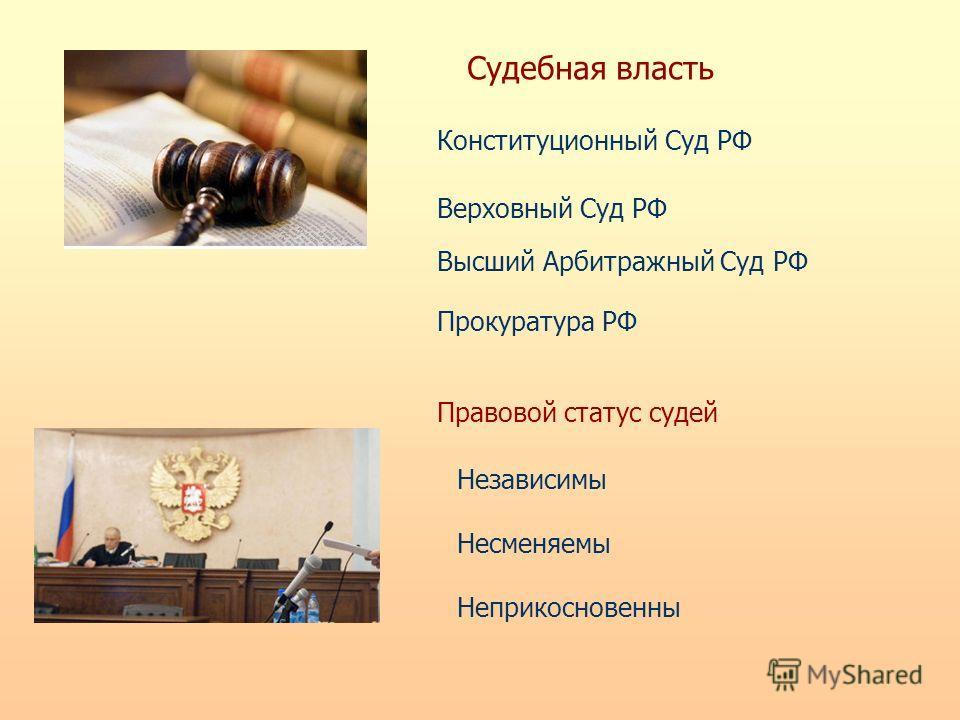 Судебная власть Конституционный Суд РФ Верховный Суд РФ Высший Арбитражный Суд РФ Прокуратура РФ Правовой статус судей Независимы Несменяемы Неприкосновенны