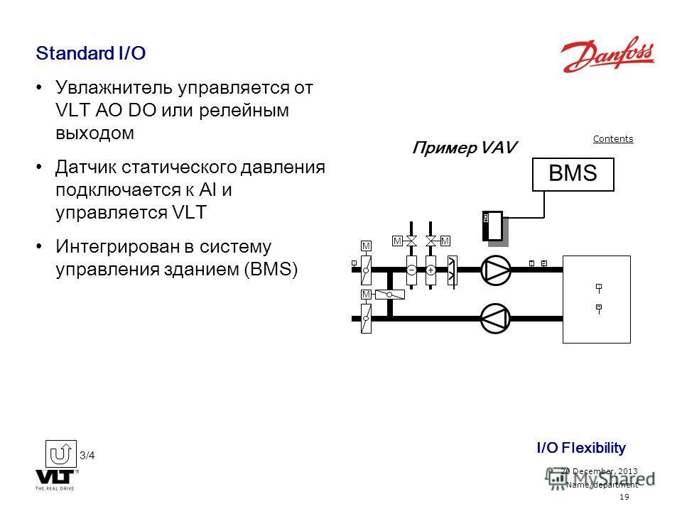 19 20 December, 2013 Name/department Contents Standard I/O Увлажнитель управляется от VLT AO DO или релейным выходом Датчик статического давления подключается к AI и управляется VLT Интегрирован в систему управления зданием (BMS) H T T M M MM T P BMS