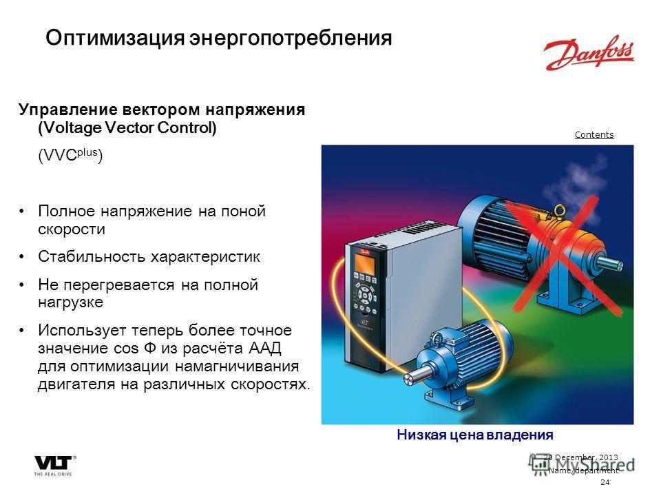 24 20 December, 2013 Name/department Contents Оптимизация энергопотребления Управление вектором напряжения ( Voltage Vector Control ) (VVC plus ) Полное напряжение на поной скорости Стабильность характеристик Не перегревается на полной нагрузке Испол