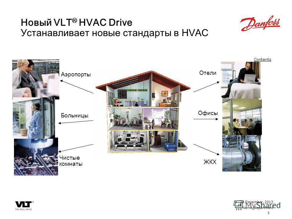 3 20 December, 2013 Name/department Contents Новый VLT ® HVAC Drive Устанавливает новые стандарты в HVAC Аэропорты Больницы Чистые комнаты Отели Офисы ЖКХ