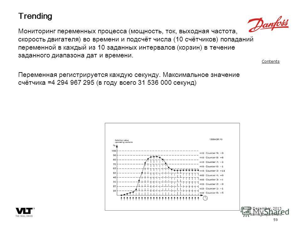 59 20 December, 2013 Name/department Contents Trending Мониторинг переменных процесса (мощность, ток, выходная частота, скорость двигателя) во времени и подсчёт числа (10 счётчиков) попаданий переменной в каждый из 10 заданных интервалов (корзин) в т