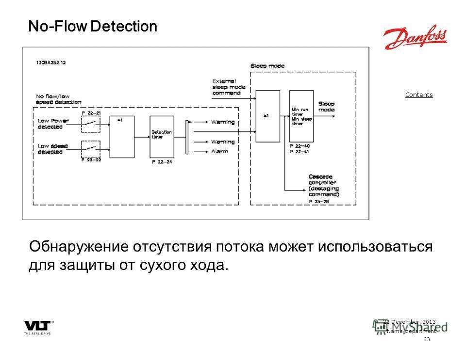 63 20 December, 2013 Name/department Contents No-Flow Detection Обнаружение отсутствия потока может использоваться для защиты от сухого хода.