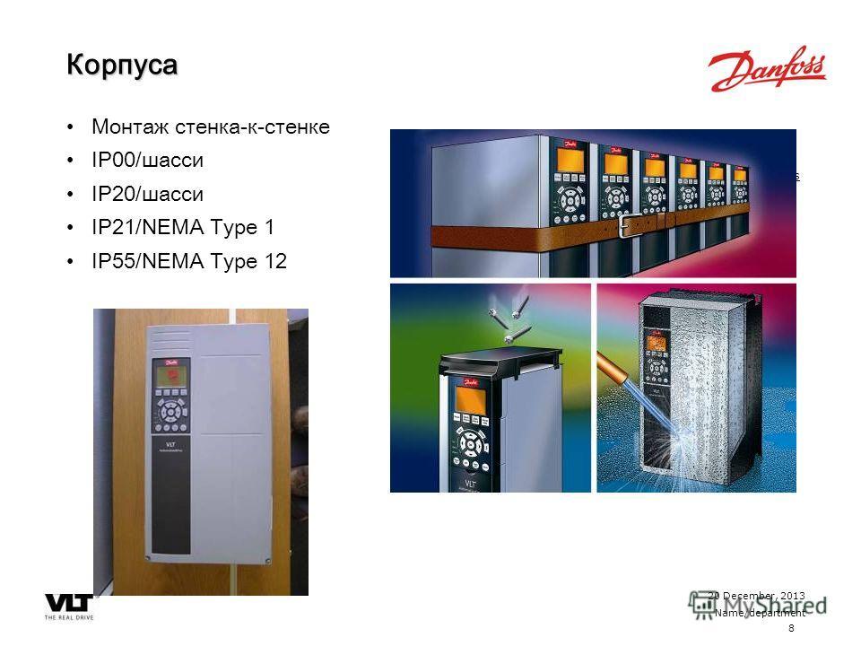 8 20 December, 2013 Name/department ContentsКорпуса Монтаж стенка-к-стенке IP00/шасси IP20/шасси IP21/NEMA Type 1 IP55/NEMA Type 12