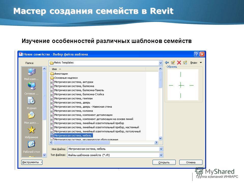 Мастер создания семейств в Revit Изучение особенностей различных шаблонов семейств