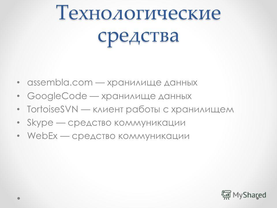 Технологические средства assembla.com хранилище данных GoogleCode хранилище данных TortoiseSVN клиент работы с хранилищем Skype средство коммуникации WebEx средство коммуникации