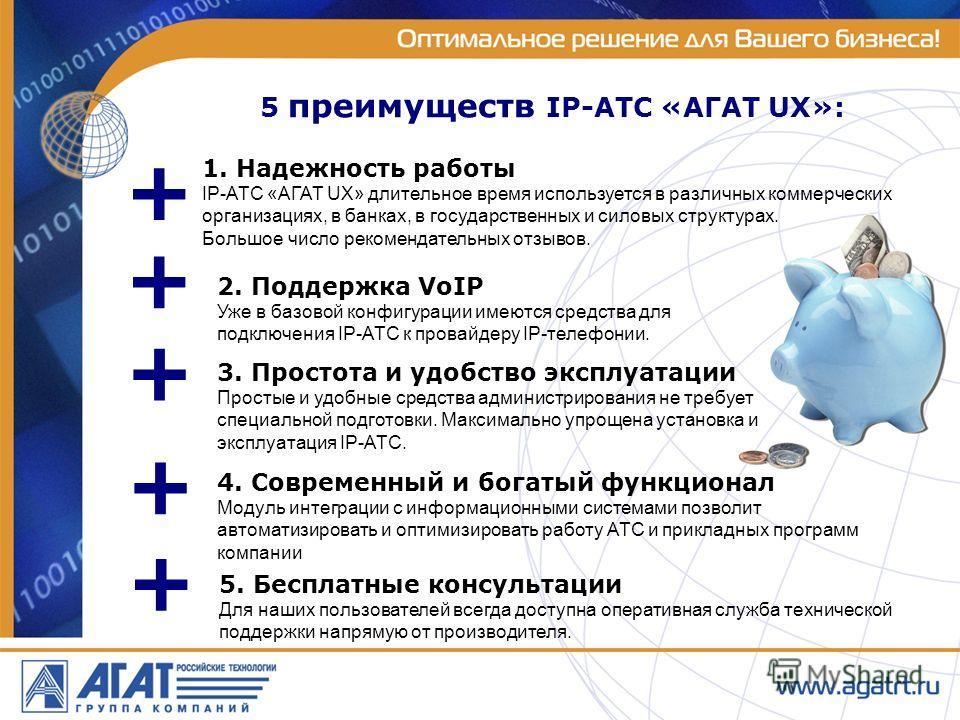 5 преимуществ IP-АТС «АГАТ UX»: + + 1. Надежность работы IP-АТС «АГАТ UX» длительное время используется в различных коммерческих организациях, в банках, в государственных и силовых структурах. Большое число рекомендательных отзывов. 5. Бесплатные кон