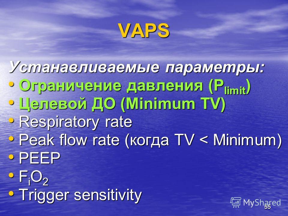 55 VAPS Устанавливаемые параметры: Ограничение давления (P limit ) Ограничение давления (P limit ) Целевой ДО (Minimum TV) Целевой ДО (Minimum TV) Respiratory rate Respiratory rate Peak flow rate (когда TV < Minimum) Peak flow rate (когда TV < Minimu