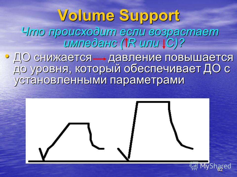 62 Что происходит если возрастает импеданс ( R или С)? ДО снижается давление повышается до уровня, который обеспечивает ДО с установленными параметрами ДО снижается давление повышается до уровня, который обеспечивает ДО с установленными параметрами V