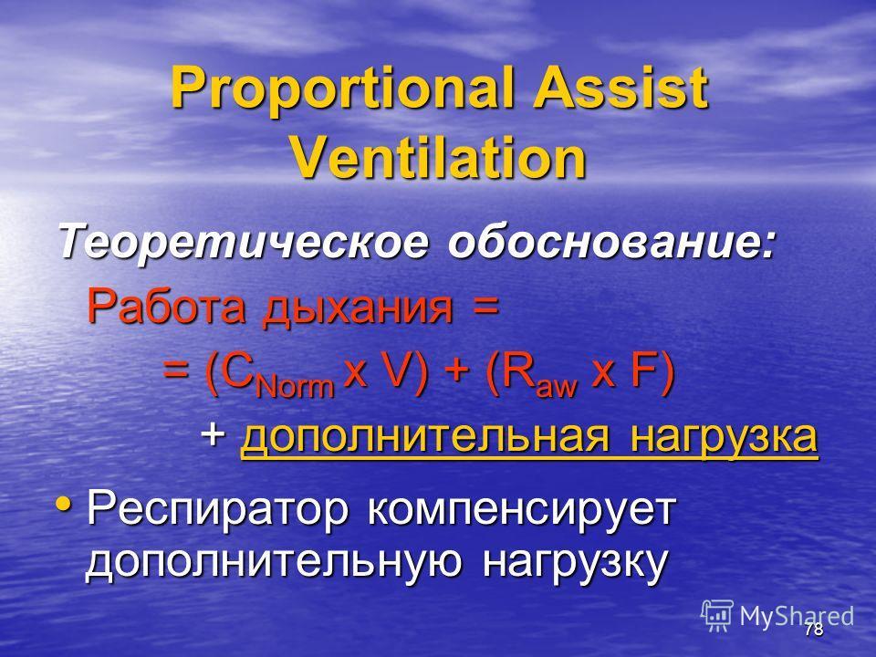 78 Proportional Assist Ventilation Теоретическое обоснование: Работа дыхания = = (С Norm x V) + (R aw x F) = (С Norm x V) + (R aw x F) + дополнительная нагрузка + дополнительная нагрузка Респиратор компенсирует дополнительную нагрузку Респиратор комп