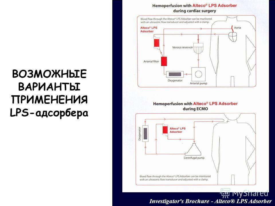 ВОЗМОЖНЫЕ ВАРИАНТЫ ПРИМЕНЕНИЯ LPS-адсорбера Investigator's Brochure - Alteco® LPS Adsorber