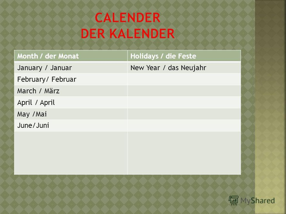 Month / der MonatHolidays / die Feste January / JanuarNew Year / das Neujahr February/ Februar March / März April / April May /Mai June/Juni