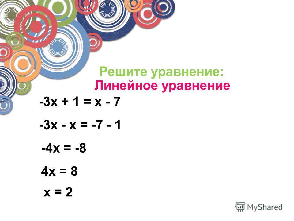 Решите уравнение: -3x + 1 = x - 7 -3x - x = -7 - 1 -4x = -8 4x = 8 x = 2 Линейное уравнение