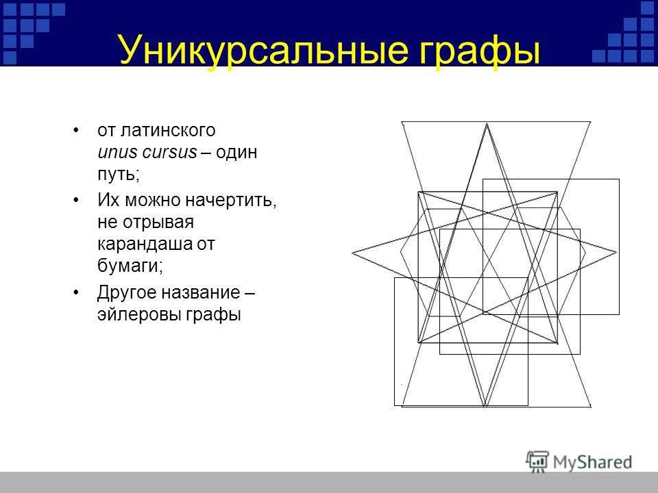 Уникурсальные графы от латинского unus cursus – один путь; Их можно начертить, не отрывая карандаша от бумаги; Другое название – эйлеровы графы