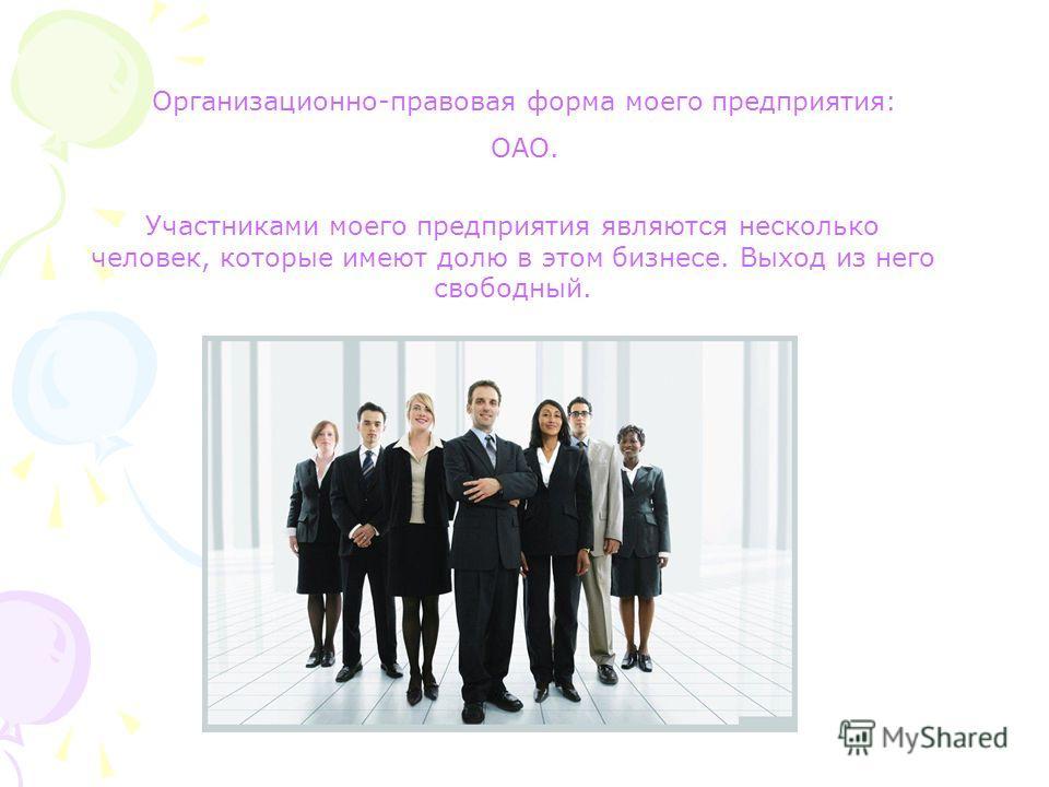 Организационно-правовая форма моего предприятия: ОАО. Участниками моего предприятия являются несколько человек, которые имеют долю в этом бизнесе. Выход из него свободный.