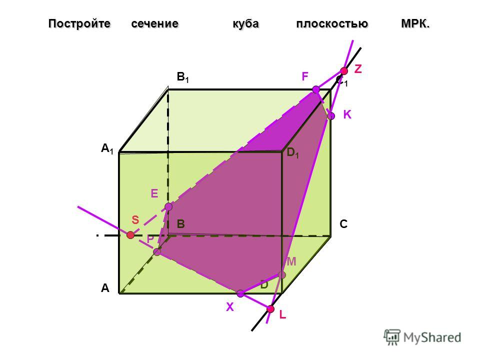 A BC D A1A1 B1B1 C1C1 D1D1 Постройте сечение куба плоскостью МPК. P M K L X S Z F E