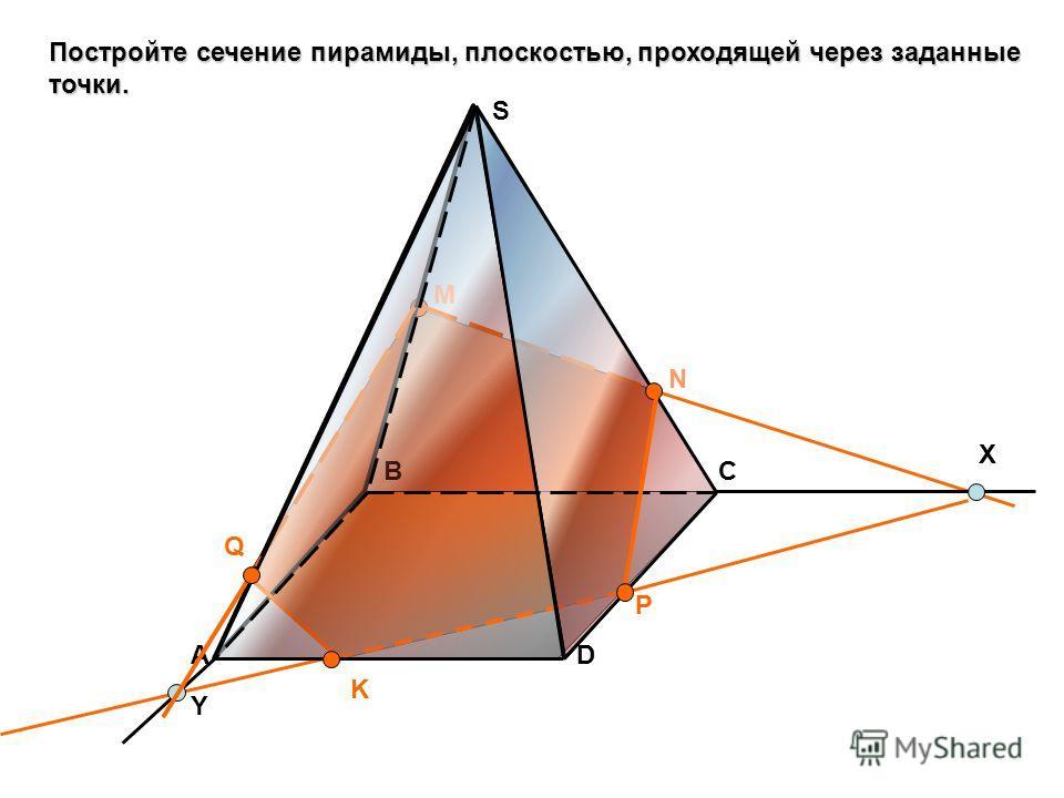 Постройте сечение пирамиды, плоскостью, проходящей через заданные точки. А BC D S M N K X P Y Q