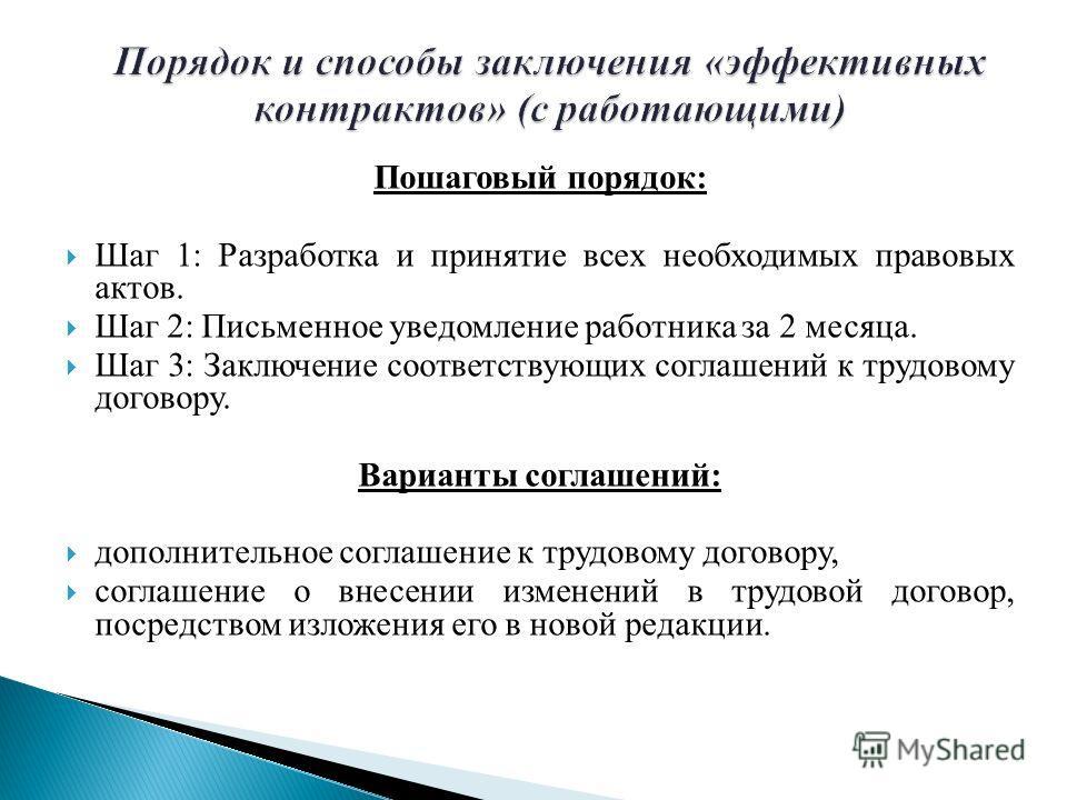 Пошаговый порядок: Шаг 1: Разработка и принятие всех необходимых правовых актов. Шаг 2: Письменное уведомление работника за 2 месяца. Шаг 3: Заключение соответствующих соглашений к трудовому договору. Варианты соглашений: дополнительное соглашение к