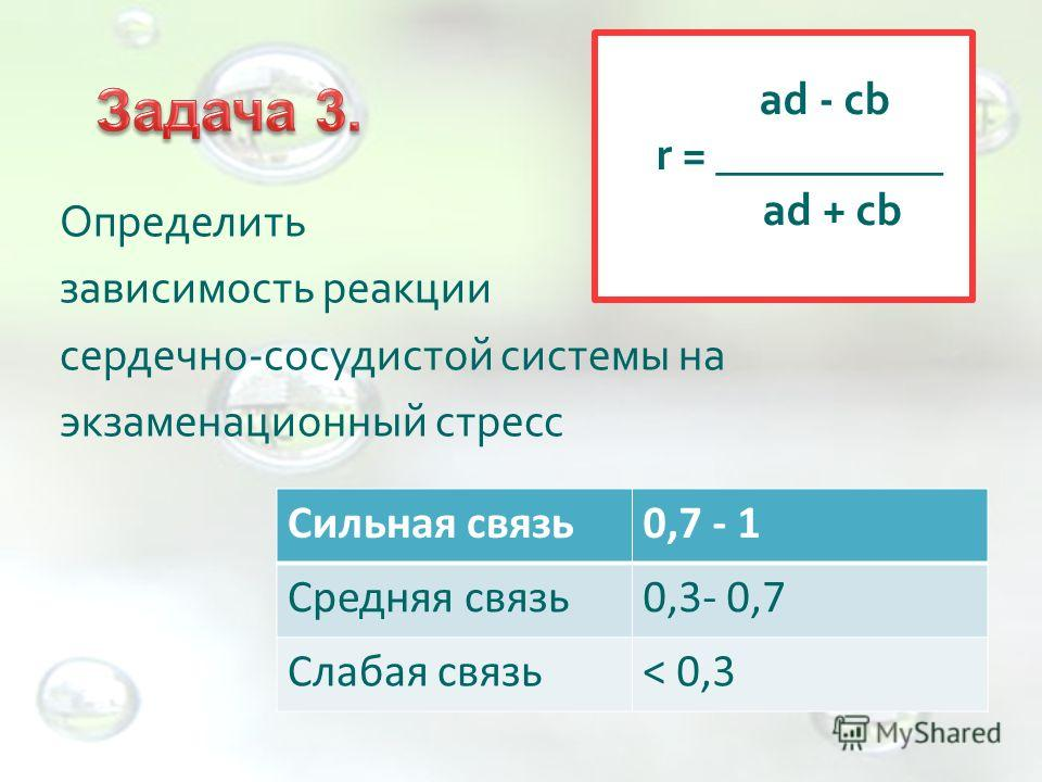 Определить зависимость реакции сердечно-сосудистой системы на экзаменационный стресс ad - cb r = __________ ad + cb Сильная связь0,7 - 1 Средняя связь0,3- 0,7 Слабая связь< 0,3