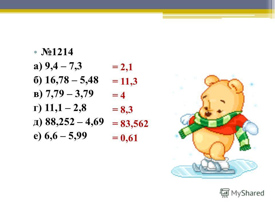 1214 а) 9,4 – 7,3 б) 16,78 – 5,48 в) 7,79 – 3,79 г) 11,1 – 2,8 д) 88,252 – 4,69 е) 6,6 – 5,99 = 2,1 = 11,3 = 4 = 8,3 = 83,562 = 0,61