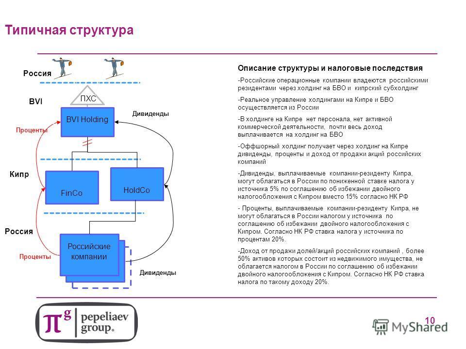 8 Дивиденды FinCo BVI Holding Российские компании Дивиденды Проценты Кипр BVI Россия ПХС Россия HoldCo Типичная структура Описание структуры и налоговые последствия -Российские операционные компании владеются российскими резидентами через холдинг на